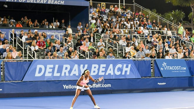 Coco Gauff played in her hometown Saturday night during an exhibition match at the Delray Beach Open.