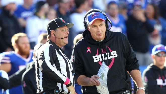 Bills head coach Doug Marrone asked for clarification on a call from an official in a game against the Patriots.