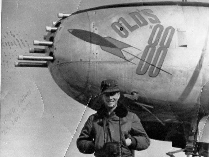 Former Montgomery County District 6 Commissioner and retired US Air Force bomber pilot Col. R.Q. Old poses for a shot with his B-26 Invader bomber in Korea in early 1951.