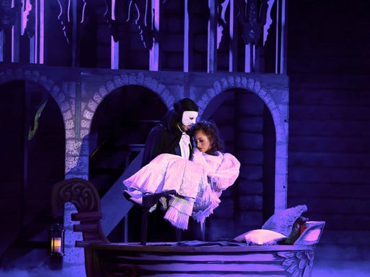 Troy Bruchwalski as the Phantom and Maxwell Porterfield as Christine Daae will perform this week at the Broadway Palm Theater.