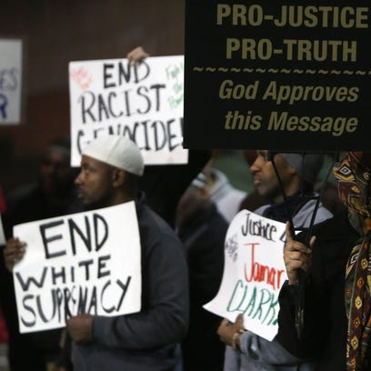 People gather with Black Lives Matter Cincinnati as