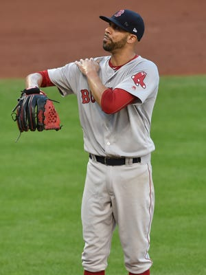 David Price reacts after giving up a three-run home run to Lonnie Chisenhall.