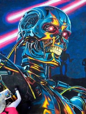 """""""The Terminator,"""" a 3D painting by artist Aislynn Mullen, was unveiled at the 2019 Lake Worth Beach Street Painting Festival."""