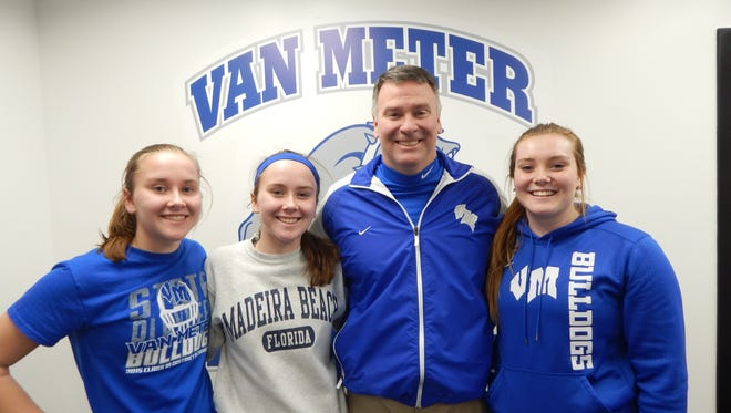 Van Meter has four members of the Roberts family on the court this year. From left, Emily, Kelsey, Rick and Mackenzie.