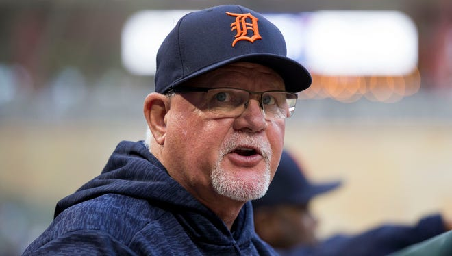 Detroit Tigers manager Ron Gardenhire in the dugout during a game against the Minnesota Twins on May 21, 2018.