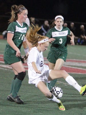 Albertus Magnus' Mazie Stiles attempts to handle the ball during the New York State Class B sub-regional game at Tappan Zee High School against Spackenkill on Tuesday, November 3rd, 2015. Albertus Magnus won 1-0.