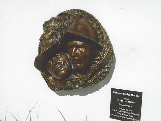 """Artist Ernie Lee Miller's bronze sculpture """"Cultures Under the Sun"""" represents Native American, Spanish explorers and the ranchers/settlers of the Tularosa Basin. The sculpture can be seen at the entrance of the Tularosa Basin Museum of History."""