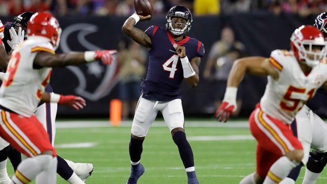 Houston Texans quarterback Deshaun Watson (4) throws against the Kansas City Chiefs during the first half of an NFL football game Sunday, Oct. 8, 2017, in Houston. (AP Photo/David J. Phillip)