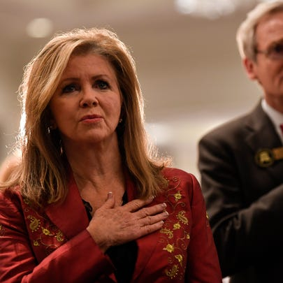 U.S. Senate candidate Marsha Blackburn sings the national
