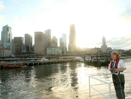 First Fast Ferry Sailed At Sunrise