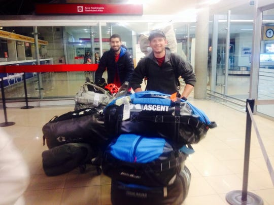 Ben Peters, left, and Jim Harris arrive at Punta Arenas, Chile, in November 2014. The two, along with Forrest McCarthy, were  working for Polartec and were about to embark on a month-long expedition across the region of Patagonia.
