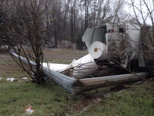 An 18-wheeler wreck on I-20 in Vicksburg