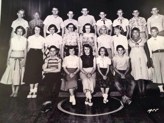 Pete Rose is fifth from left in this 1955 class photo at Sayler Park Elementary.