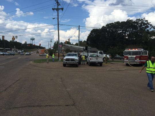 Crews responded to the site of a natural gas line break in Brandon.