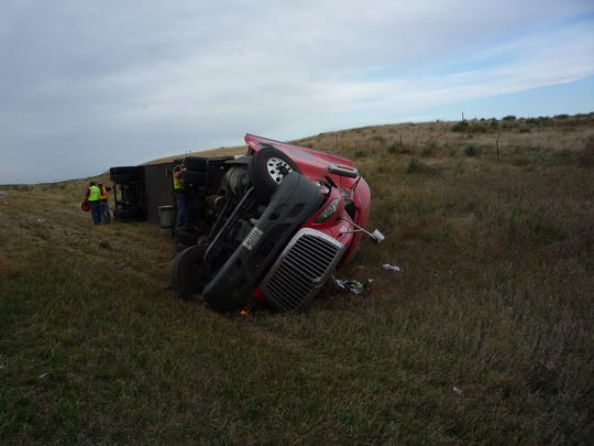 Windy conditions Monday morning caused a semi to roll near Murdo.