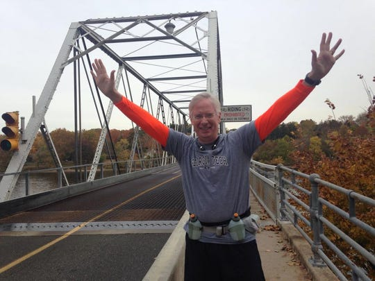 Journalist, runner and author Tom Foreman completed a 5 x running event this past week. He is shown here in New Jersey; his wife's family lives in Hunterdon County.