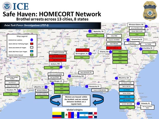 "U.S. Immigration and Customs Enforcement's (ICE) Homeland Security Investigations (HSI) arrested 29 people in 13 cities and eight states Thursday on sex trafficking and related charges in a sweeping operation dubbed ""Operation Safe Haven"" targeting a network of illegal brothels trafficking Hispanic females."