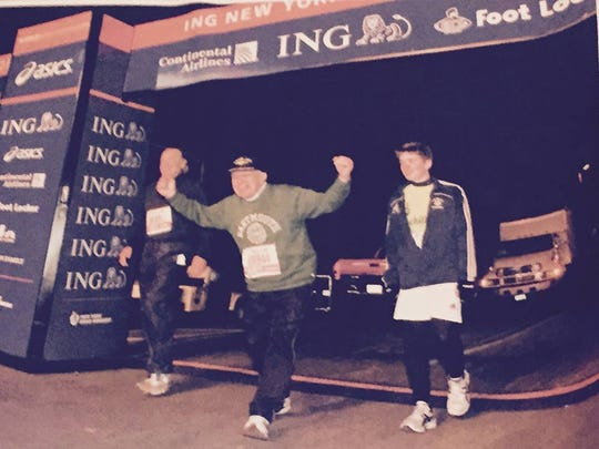 Jonathan Mendes, now 94, crosses the finish line of
