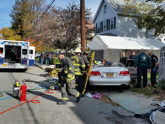 A car struck a telephone pole in Beacon Monday. The crash sent one man to Westchester Medical Center.
