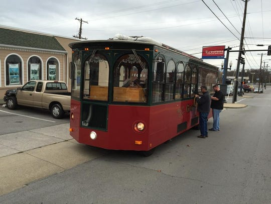 The downtown Holly Trolley helps keep shoppers out