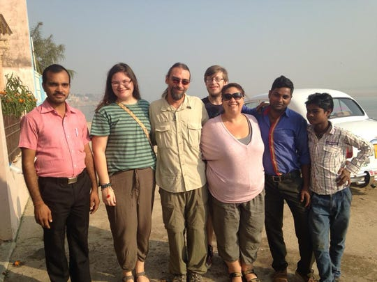 The Schwarz family with hotel staff in India.