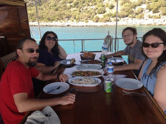 The Schwarz family of Des Moines on a Turkish cruise.