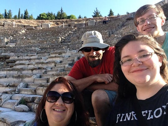 The Schwarz family at the Ephesus ruins.
