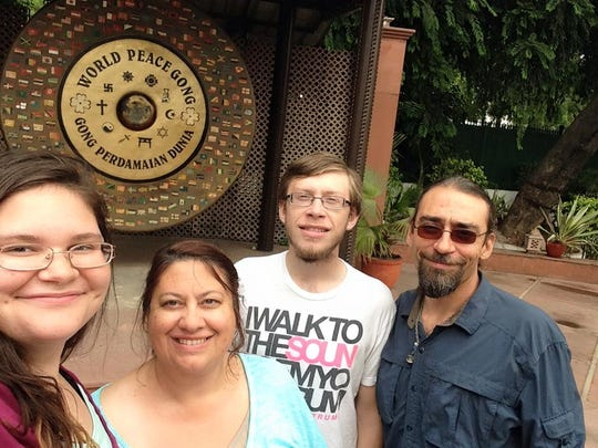A Schwarz family selfie at the Gandhi memorial in India.