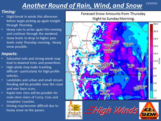 Snow forecast for Southern Oregon.