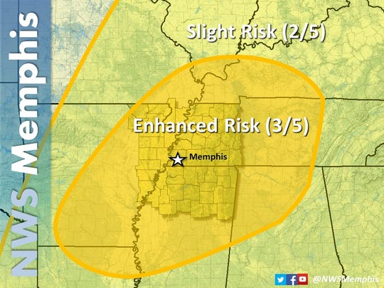 National Weather Service map of enhanced risk area.