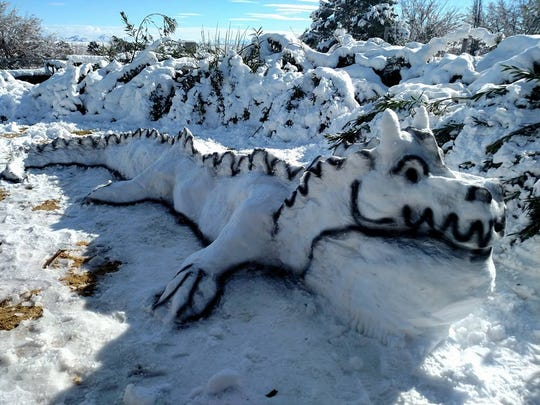 The Moore family -- Mom Becky, dad Dudley, children Tori (11), Carly  (7) and friend Aspen  -- spent three hours building this snow dragon at their home near Telshor Boulevard and Fairway Avenue.