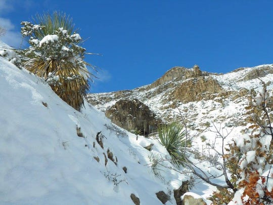 The Ron Coleman Trail in El Paso received a fresh layer of snow this past weekend. The hiking trail runs from McKelligon Canyon to Smugglers Pass on Trans Mountain Road in the Franklin Mountains. The trail features a cave.