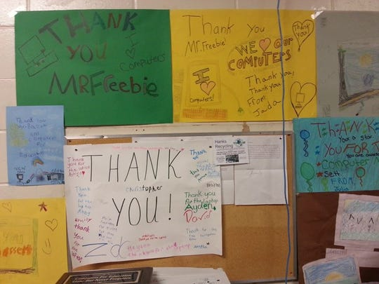 Thank you notes line the walls at the shuttered Titusville school where Computers Advancing Education operates.