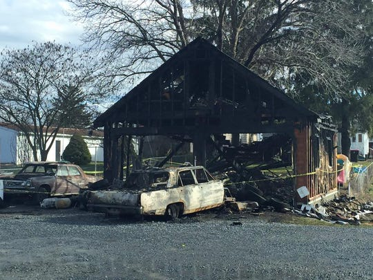 This garage at 1921 Philadelphia Ave., Chambersburg, is a total loss after a fire on Saturday afternoon.