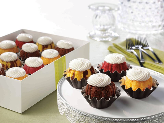 Nothing Bundt Cakes offers a variety of sizes as well, including the single serve, bundtini, which come by the dozen.