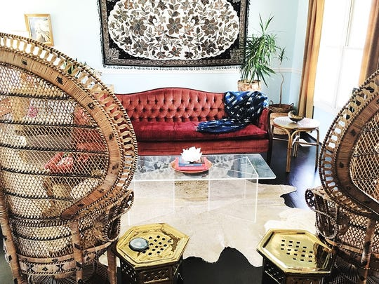 Vintage Peacock Chairs $65 each (rent), Rosie Sofa $145 (rent) and Lucite Coffee Table $85 (rent).