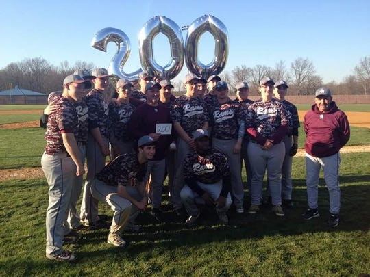 South River celebrates head coach Mike Lepore Jr.'s 200th career win on Thursday.