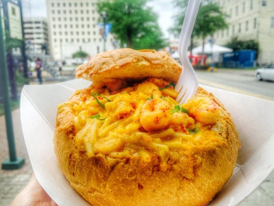The crawfish Mimi mac bread bowl is one of many specials