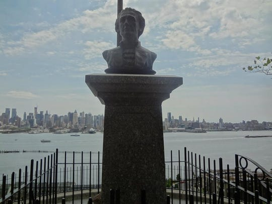 A bust of Alexander Hamilton overlooks the Weehawken