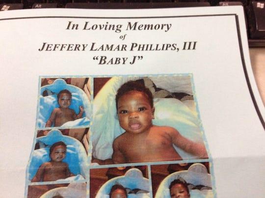 A flyer memorializing the short life of Jeffery Phillips.