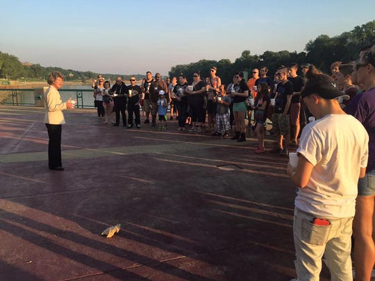 Clarksville City Mayor Kim McMillan addresses those