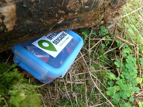 Geocaching uses a GPS device to search for and locate