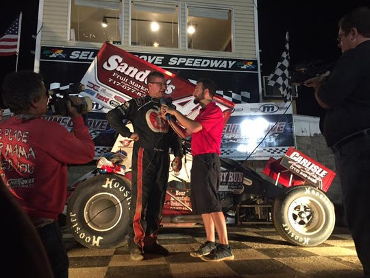 Danny Dietrich is interviewed in victory lane after winning the 2016 Speedweek title at Selinsgrove.