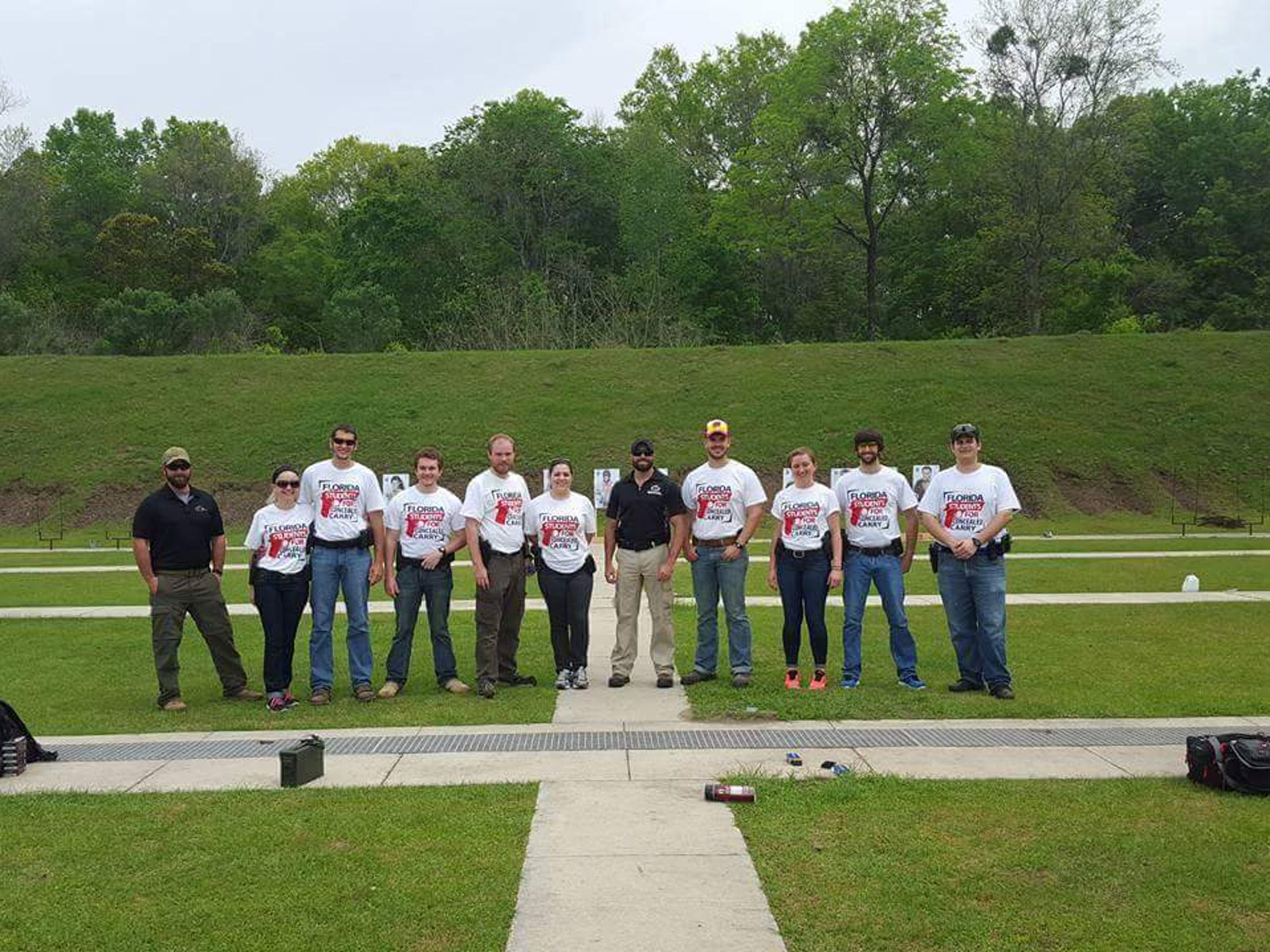 Members of Florida Students for Concealed Carry put on a tactical handgun course in March. Pictured from left to right: Instructor Kelly Kraus, Brandon Woolf, Alex Stewart, Joshua Hargrove, Bekah Hargrove, Instructor Steve Landgraf, Lauren Riner, Thomas Sullenberger and Michael Patterson.