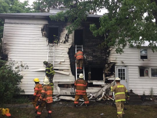 Firefighters from multiple departments fought a house fire Sunday on Falls Road in Ulysses. No one was injured.