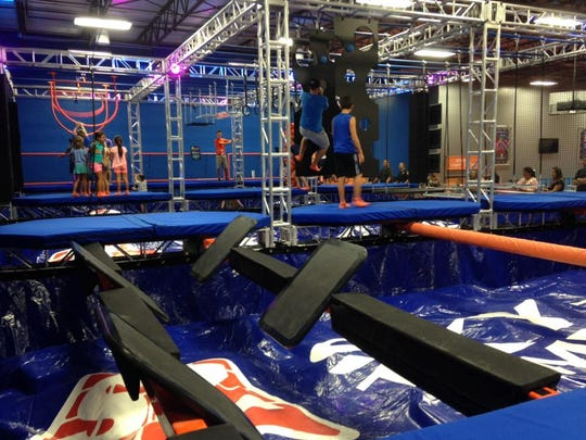 """This """"warrior course"""" is one of the active stations built for fun inside Sky Zone Space Coast."""