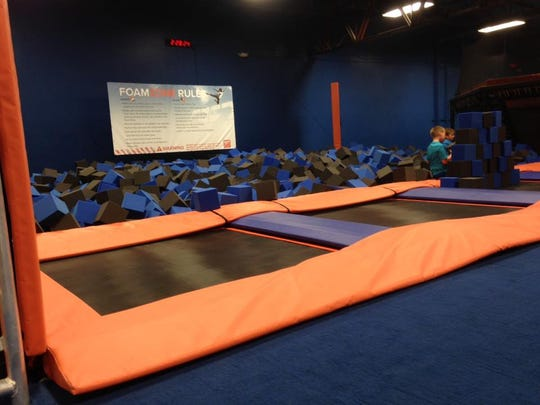 """The foam block """"lanes"""" at Sky Zone in Rockledge are designed for jumping and flipping into."""