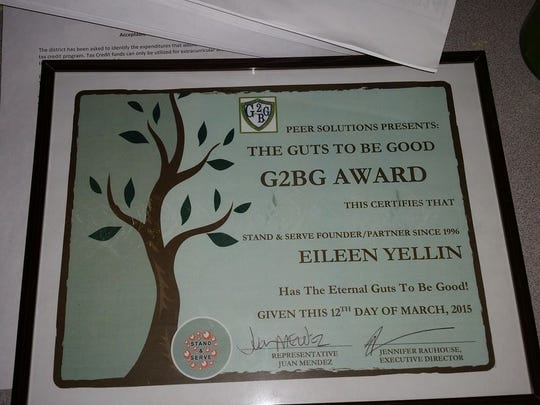 Retired Tempe High School teacher Eileen Yellin won the Guts to Be Good award this year for her work with students.