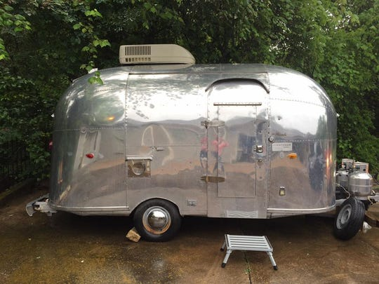 1961 Airstream that was recovered following arrest of two suspects Thursday.