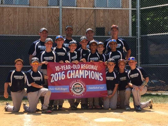 Poughkeepsie 10-and-under baseball team poses with